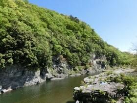[写真]岩畳と荒川の流れ