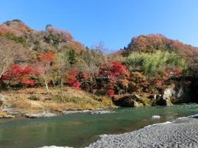 [写真]上長瀞河原の紅葉