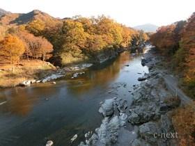 [写真]夕日を浴びる長瀞渓谷