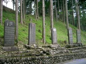 [写真]苗木奉納などの碑が並ぶ参道