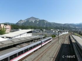[写真]跨線橋からみた武甲山