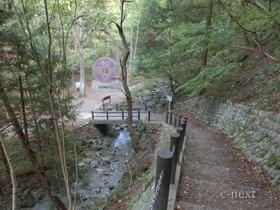 [写真]モニュメントそばの橋の先から見下ろした風景